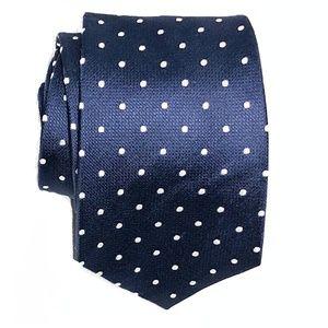 T.M. Lewin All Silk Navy Polka Dot Tie